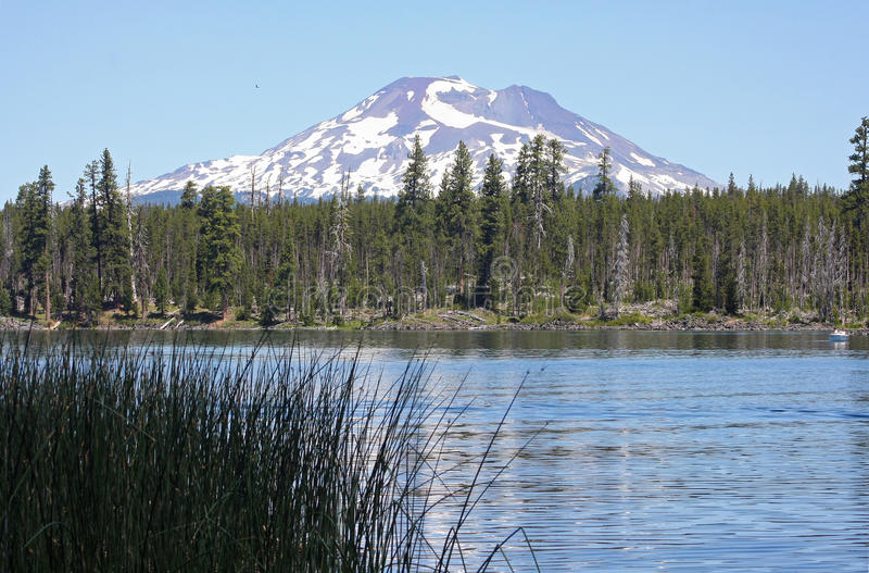 South Sister from Lava Lake stock images