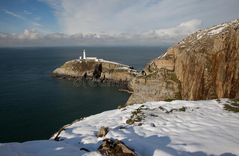 Download South Stack Lighthouse stock image. Image of snow, anglesey - 28831601