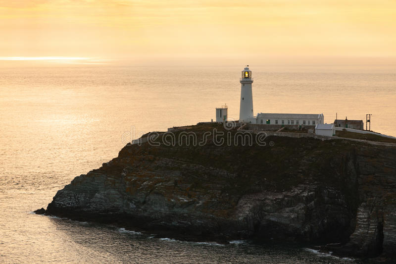 South Stack lighthouse, Anglesey, North Wales. South Stack Lighthouse at Holyhead, Anglesey, North Wales in evening light royalty free stock photography