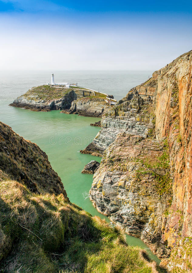South Stack Lighthouse, Anglesey, North Wales. A view from the cliffs looking South stock photo