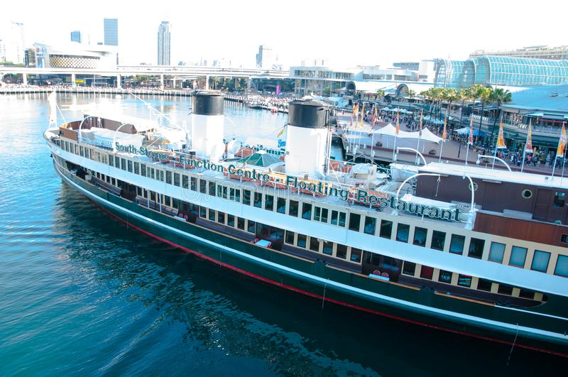The South Steyne Function Centre Floating Restaurant, is an heritage-listed retired public steam ferry at at Darling Harbour. South Steyne Function Centre royalty free stock photography