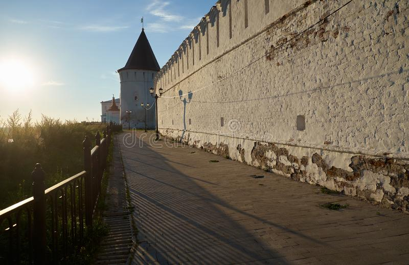 South stone defensive wall and South-eastern round tower of Tobolsk Kremlin. Tobolsk. Russia. The view of the South stone defensive wall and South-eastern round royalty free stock photo