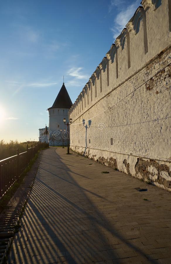 South stone defensive wall and South-eastern round tower of Tobolsk Kremlin. Tobolsk. Russia. The view of the South stone defensive wall and South-eastern round stock photography