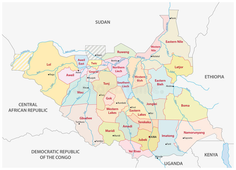 South Sudan Administrative Map Stock Illustration Illustration of