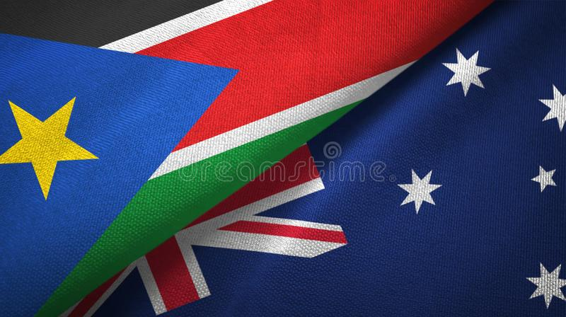 South Sudan and Australia two flags textile cloth, fabric texture royalty free stock image