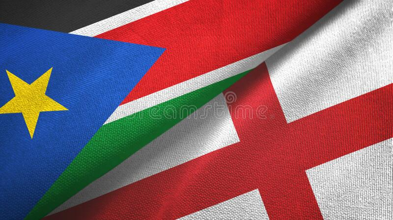 South Sudan and England two flags textile cloth, fabric texture. South Sudan and England two folded flags together royalty free stock photography
