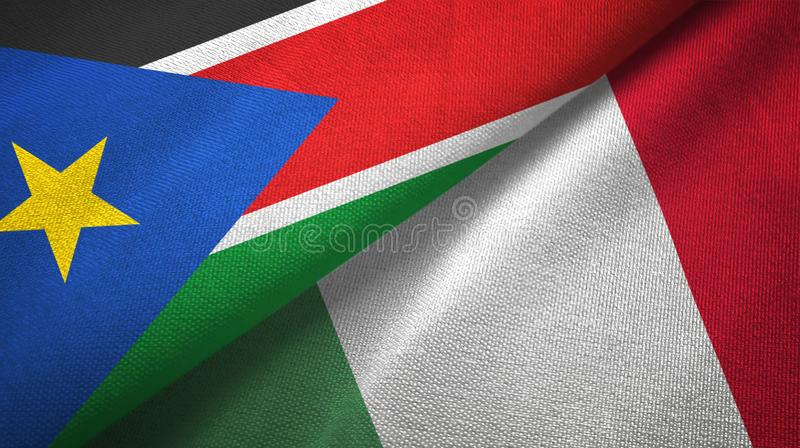South Sudan and Italy two flags textile cloth, fabric texture stock photos