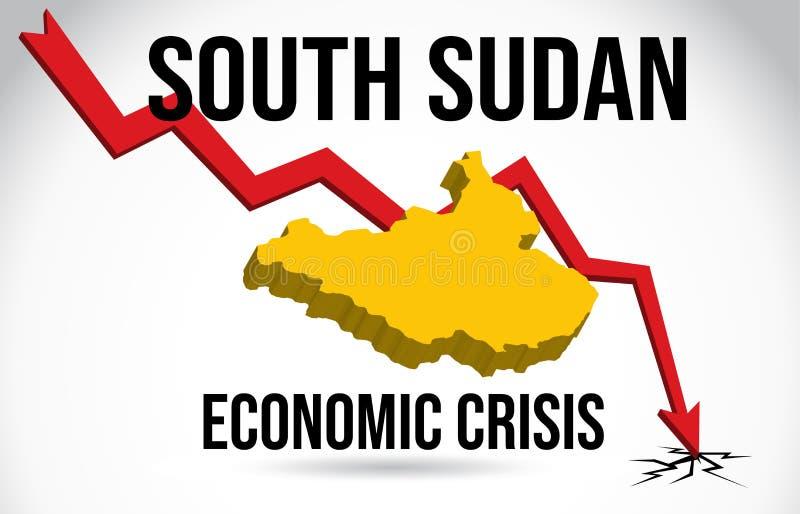 South Sudan Map Financial Crisis Economic Collapse Market Crash Global Meltdown Vector. Illustration royalty free illustration