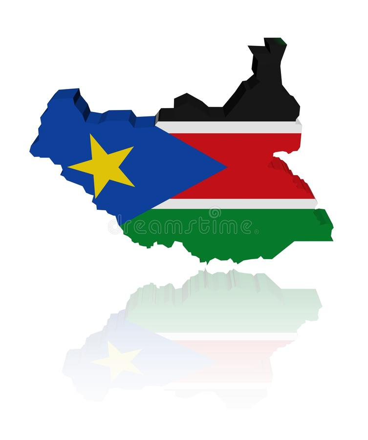 South Sudan Map Flag With Reflection Royalty Free Stock Photography