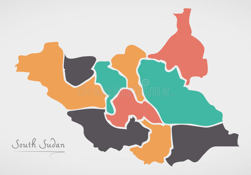 South Sudan Map with states and modern round shapes. Illustration royalty free illustration