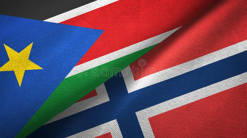 South Sudan and Norway two flags textile cloth, fabric texture royalty free stock images