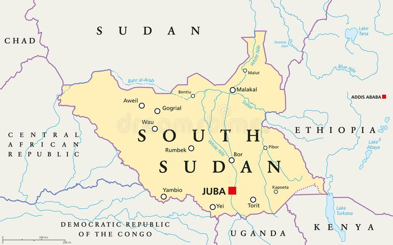 South Sudan Political Map stock vector Illustration of geography