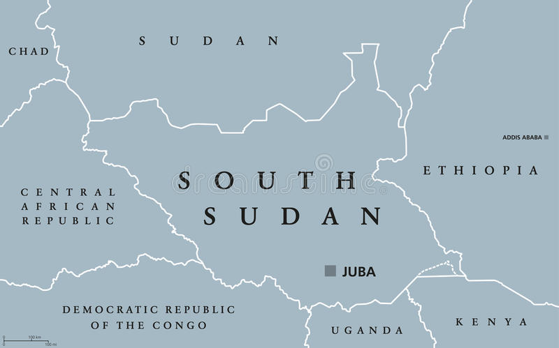 South Sudan political map stock vector Illustration of nation