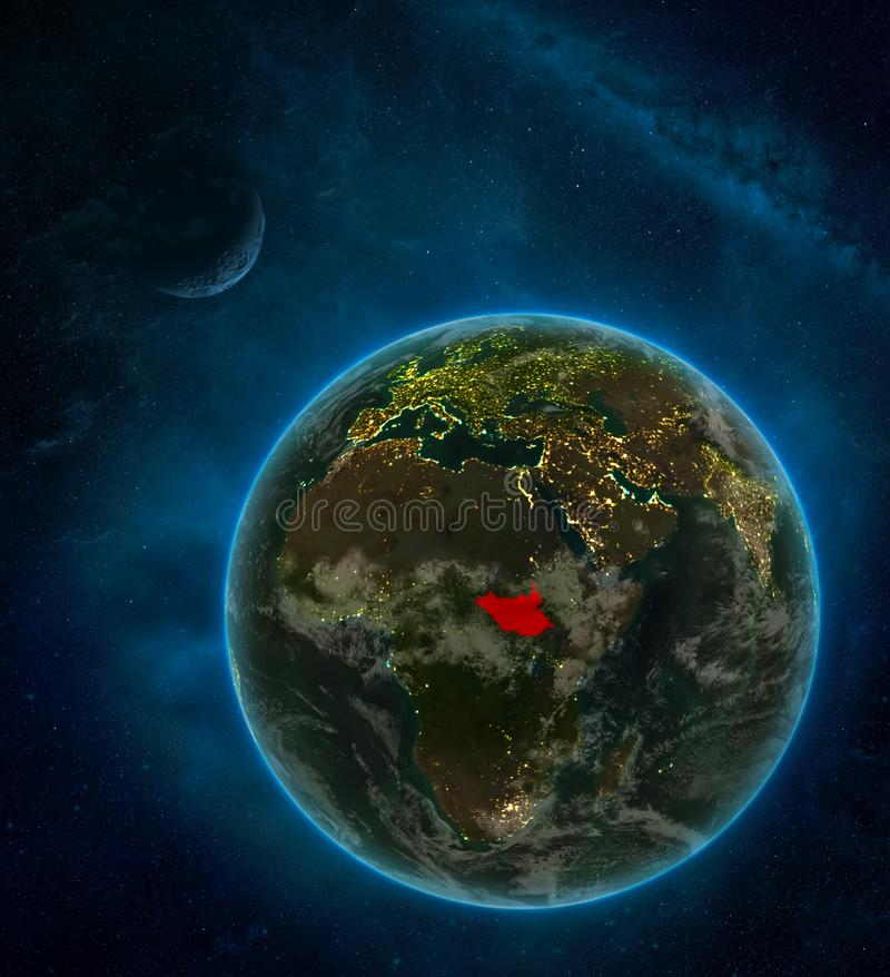 South Sudan from space on Earth at night surrounded by space with Moon and Milky Way. Detailed planet with city lights and clouds. 3D illustration. Elements of royalty free illustration