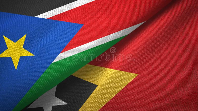 South Sudan and Timor-Leste East Timor two flags textile cloth, fabric texture stock photos