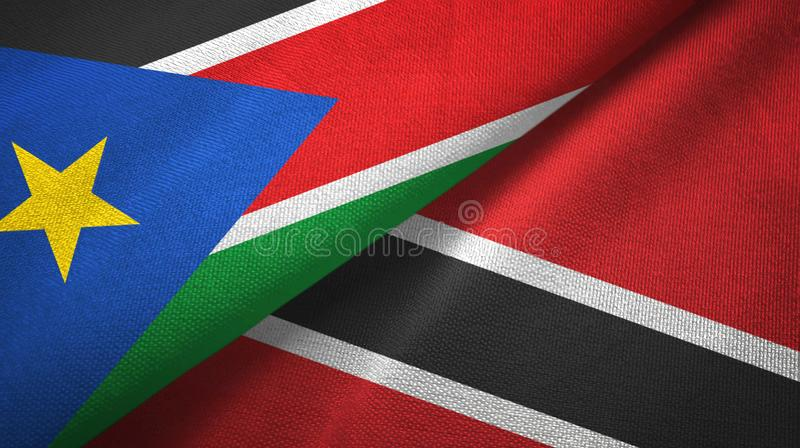 South Sudan and Trinidad and Tobago two flags textile cloth, fabric texture stock photography