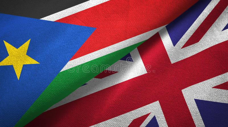 South Sudan and United Kingdom two flags textile cloth, fabric texture stock photography