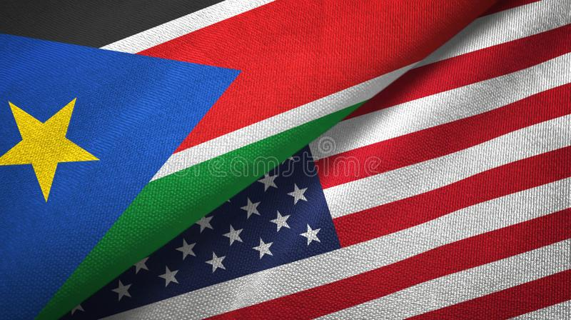 South Sudan and United States two flags textile cloth, fabric texture stock images
