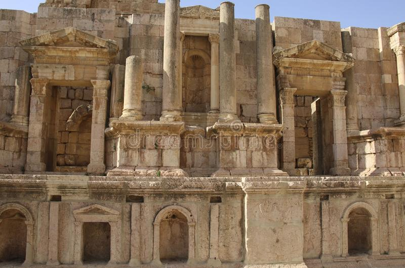 South Theater, Ancient Roman city of Gerasa of Antiquity , modern Jerash, Jordan royalty free stock photography