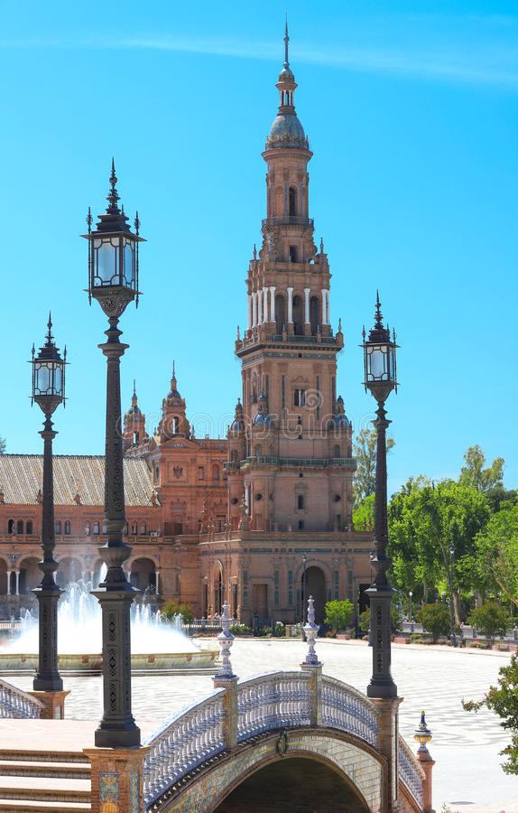 South Tower and lanterns at Plaza de Espana, Seville, Spain. South Tower and lanterns at Spain square-Plaza de Espana, Seville, Spain royalty free stock photo