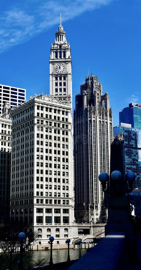 South Tower of the Wrigley Building. This is an early Spring picture of the South Tower of the iconic Wrigley Building on Michigan Avenue located in Chicago stock photos