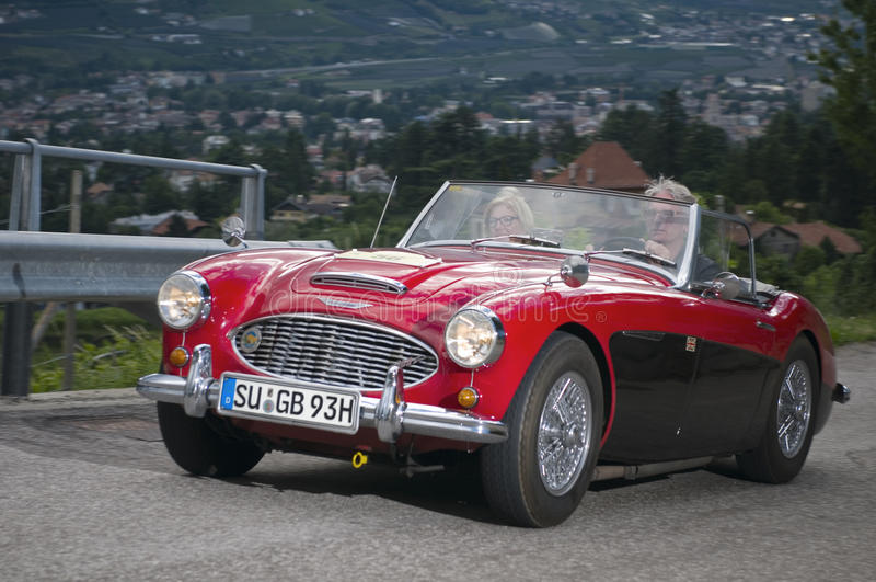 South tyrol classic cars_2014_Austin HEALEY 100-6 red stock image