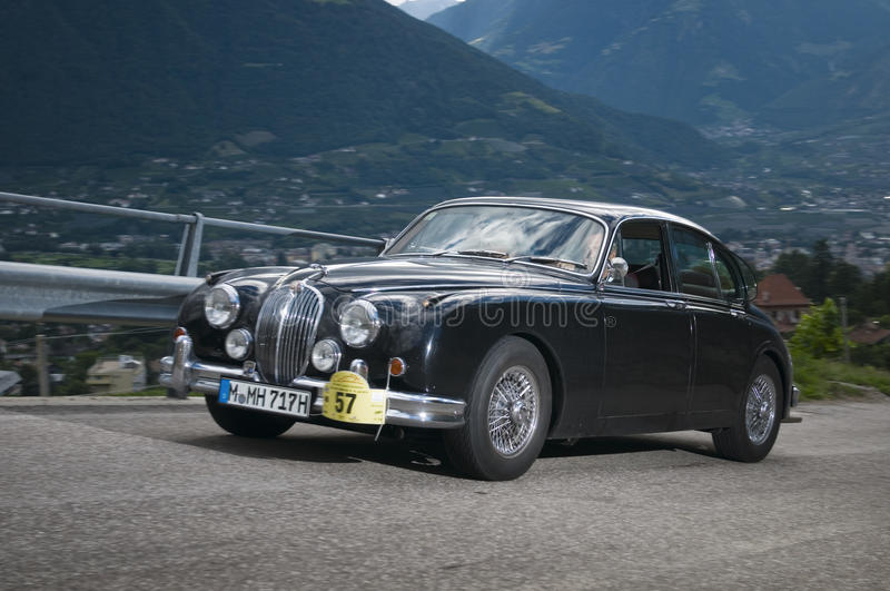 South tyrol classic cars_2014_Jaguar MK 2. 2014 the traditions the South Tyrol classic to the 28 held times. Here to see a blue Jaguar MK 2, build in 1960 royalty free stock image
