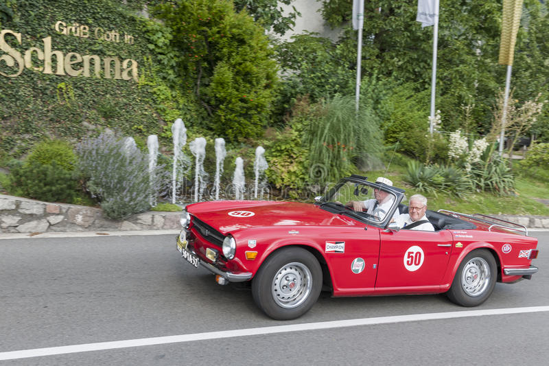 South Tyrol Rallye 2016_Triumph TR 6_red-front stock photography
