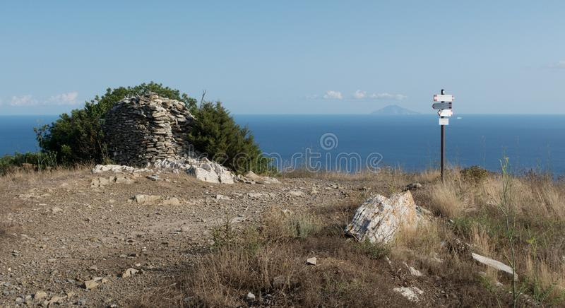 South view from Monte Fonza hill wiht island Montecristo in backroud on the island Elba stock photo