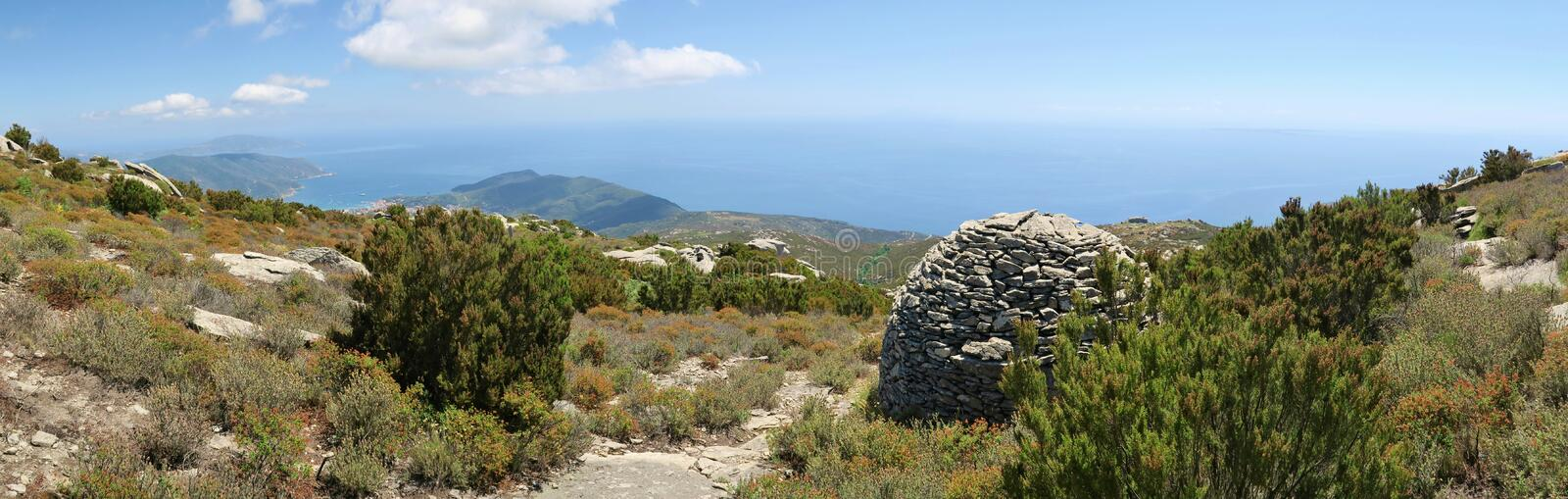 South view from the slope of Monte Capanne on the island Elba stock images