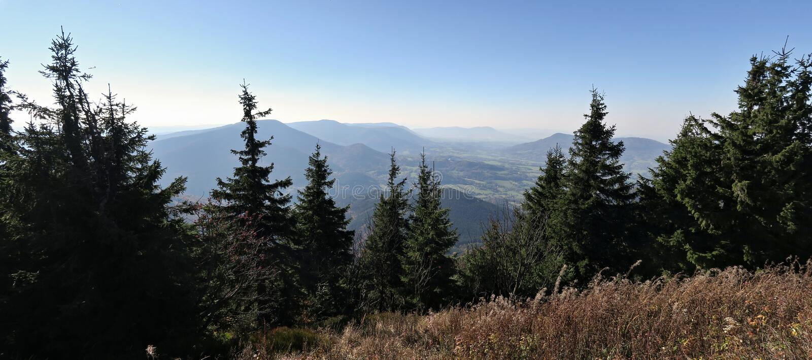 South view from the summit of Lysa hora mountain in Beskydy mountains royalty free stock photos