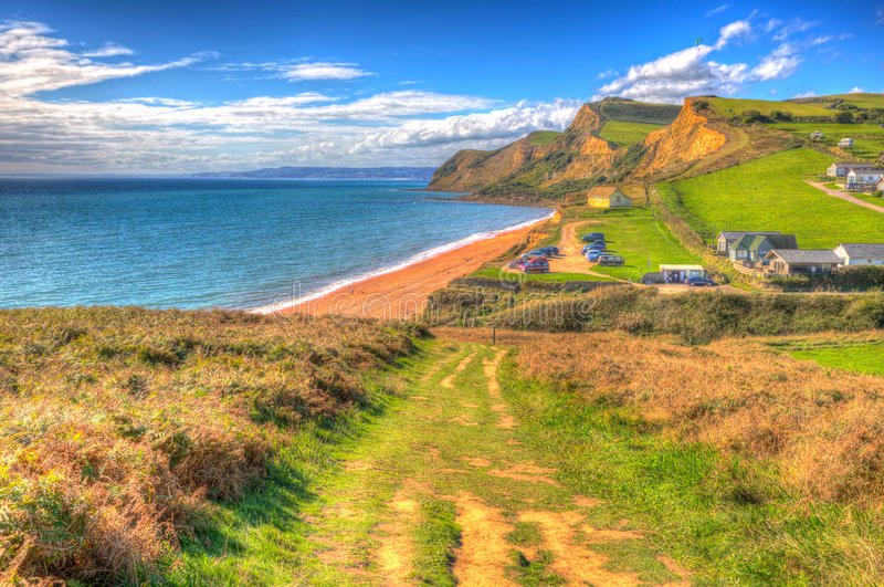 South west coast path Eype Dorset Jurassic coast in bright colourful HDR south of Bridport and near West Bay England UK hdr. Eype Dorset Jurassic coast in bright royalty free stock photo
