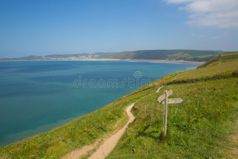 South west coast path and Woolacombe beach Devon England UK in summer. South west coast path to Woolacome Devon from direction of Croyde England UK in summer royalty free stock photo