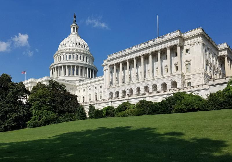 United States Capitol Building, on Capitol Hill in Washington DC. The South West facade of the United States Capitol Building, with the cupola and House of the stock image