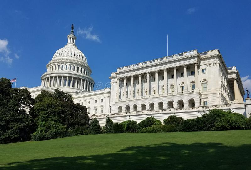 United States Capitol Building, on Capitol Hill in Washington DC. The South West facade of the United States Capitol Building, with the cupola and House of the stock photo