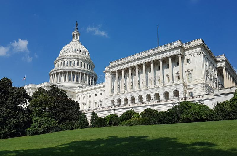 United States Capitol Building, on Capitol Hill in Washington DC. The South West facade of the United States Capitol Building, with the cupola and House of the royalty free stock photo