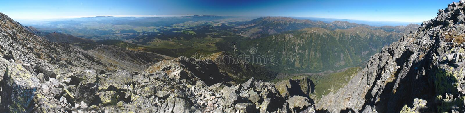 South and west panorama view from Krivan in Vysoke Tatry mountains stock photos