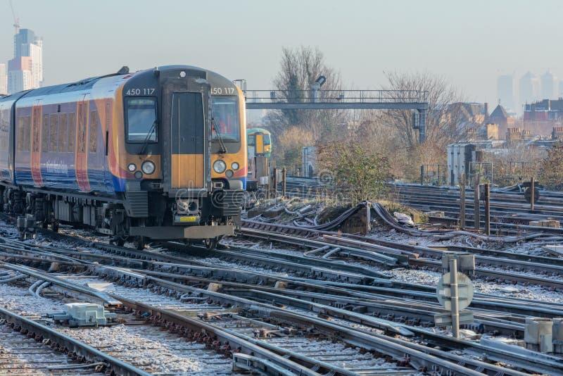 Train on Frosty Tracks stock photo