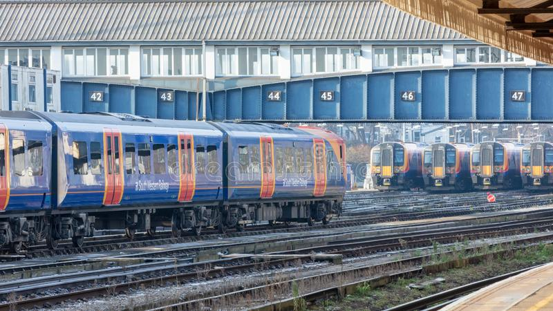 Train Arrival in Clapham Junction Station stock photos