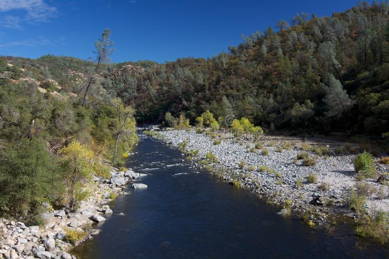 South Yuba River at Bridgeport in the fal stock photography
