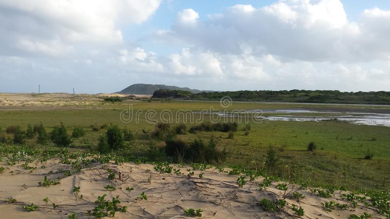 Southafrican countryside with a lake stock photography