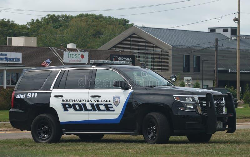 Southampton Police Department car in Southampton Village, Long Island. SOUTHAMPTON, NEW YORK - SEPTEMBER 30, 2019: Southampton Police Department car in stock photos