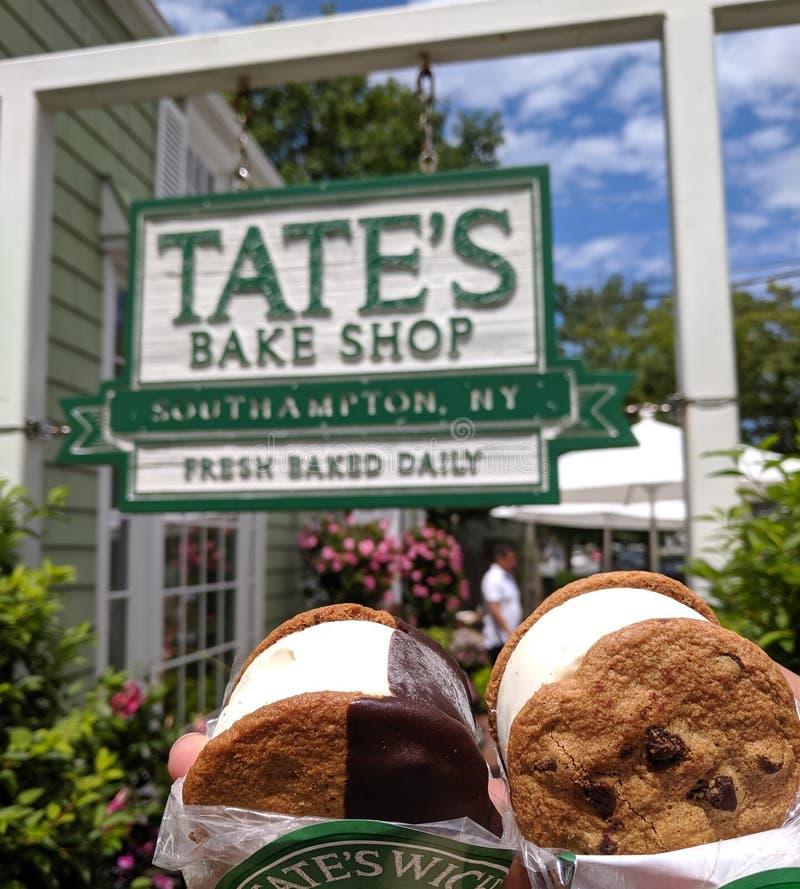 Tate`s Bake Shop storefront. ice cream sandwich. Southampton, NY, United States: July 5th 2019: Tate`s Bake Shop storefront. ice cream sandwich / tate`swichn royalty free stock image