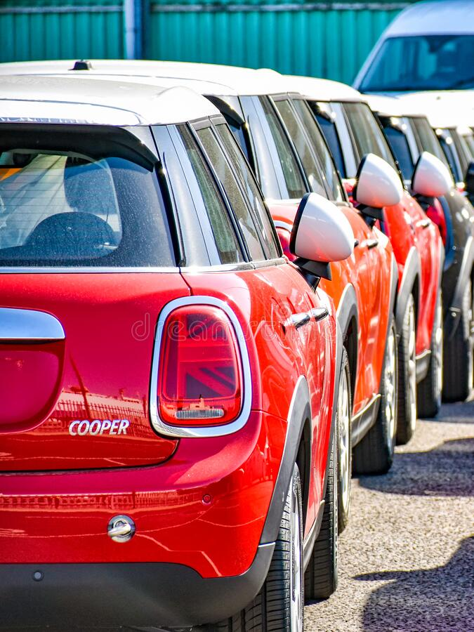 MINI Cooper cars are ready for shipment in a row in the port of Southampton United Kingdom. Southampton, United Kingdom – August 6, 2018: MINI Cooper cars royalty free stock images