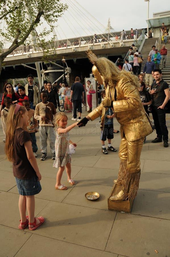 Southbank的街道艺人,伦敦,英国 库存照片