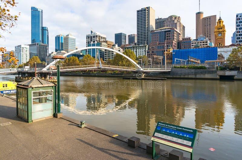 Southbank Yarra river Promenade with view of Evan Walker pedestrian bridge stock photography