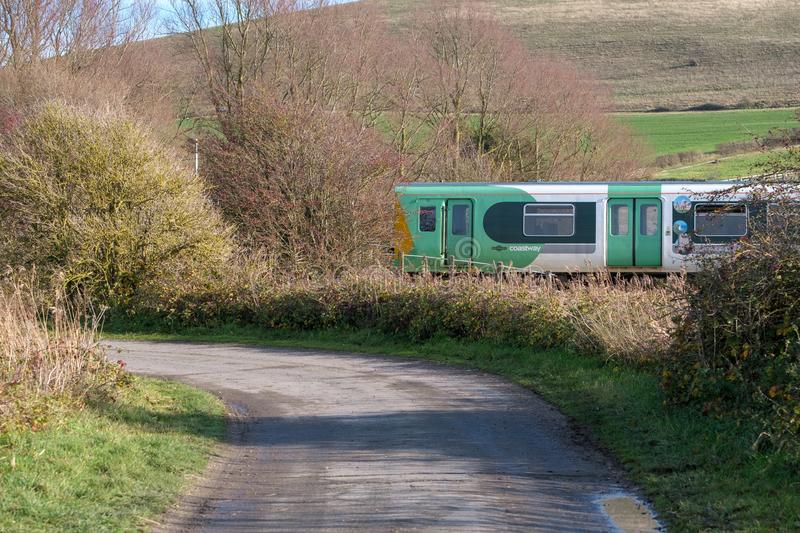 SOUTHEASE, EAST SUSSEX/UK - DECEMBER 4 : Train approaching South stock photos