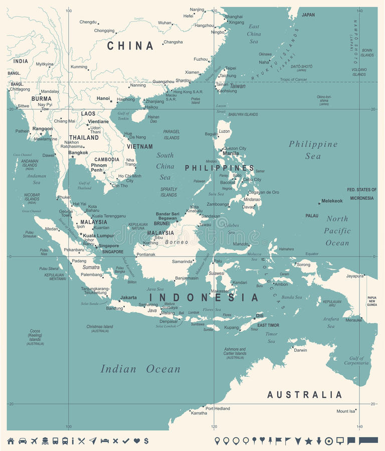 southeast asia map vintage detailed vector illustration