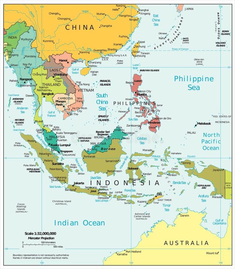 Southeast Asia Region Political Divisions Map Stock Illustration