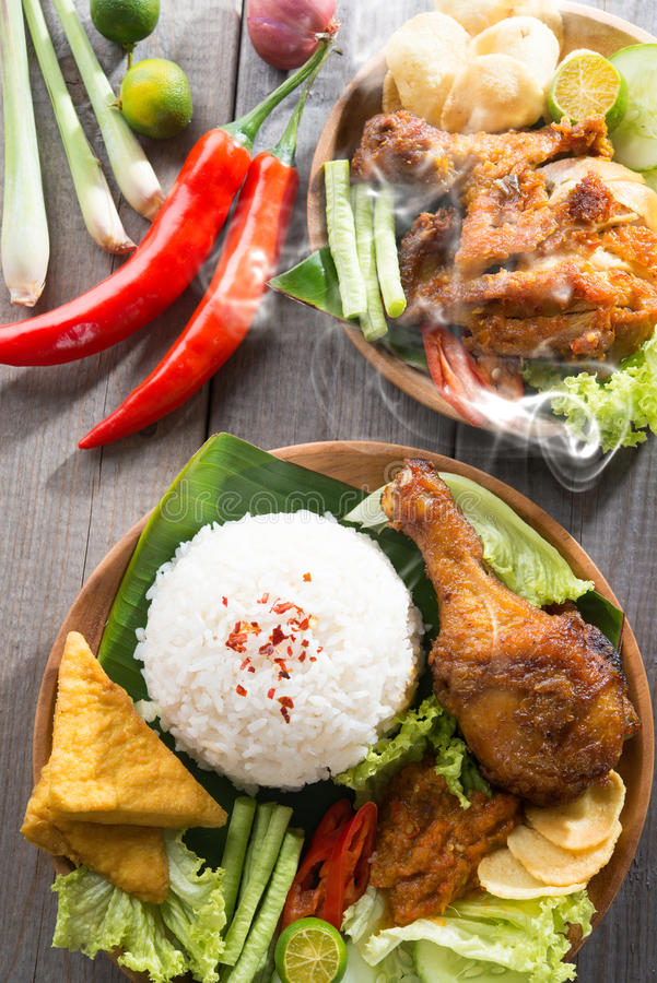 Southeast asian food nasi ayam penyet stock photo image for Aja east asia cuisine